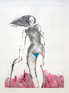 Mystery Woman 1 Monotype 1992 30x22 Works on Paper (not prints) by Fritz Scholder