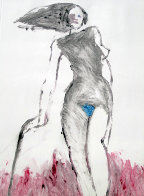 Mystery Woman 1 Monotype 1992 30x22 Works on Paper (not prints) by Fritz Scholder - 1