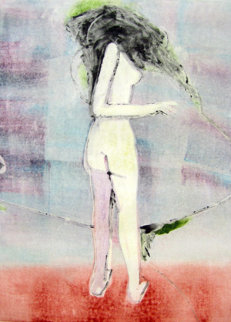 Mystery Woman 2 (Standing Nude) Monotype 1990 30x22 Works on Paper (not prints) by Fritz Scholder