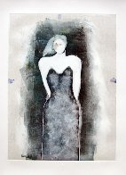 Mystery Woman Series, #4 Monotype 1990 30x22 Works on Paper (not prints) by Fritz Scholder - 1