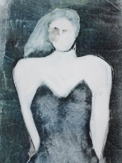 Mystery Woman Series, #4 Monotype 1990 30x22 Works on Paper (not prints) by Fritz Scholder