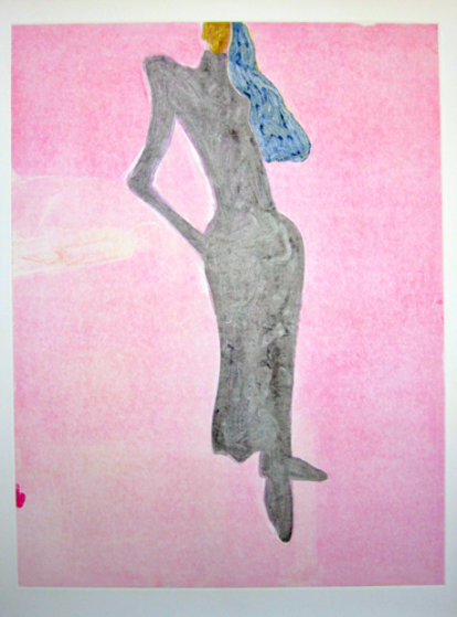 Mystery Woman Series, #5 Monotype 1986 41x31 Works on Paper (not prints) by Fritz Scholder