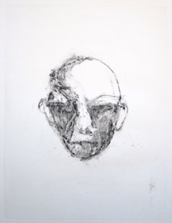 Face #1 (Face Series) Monotype 1985 40x30 Works on Paper (not prints) - Fritz Scholder