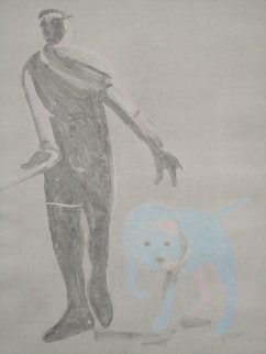 Man and Dog Monotype 1992 41x30 Works on Paper (not prints) by Fritz Scholder