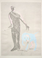 Man and Dog Monotype 1992 41x30 Works on Paper (not prints) by Fritz Scholder - 1
