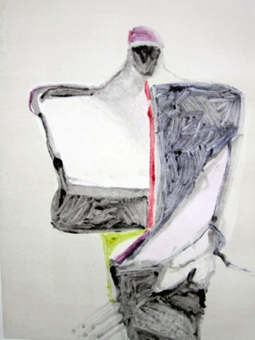Portrait with Suit Series, #1 Monotype 1983 40x30 Works on Paper (not prints) by Fritz Scholder
