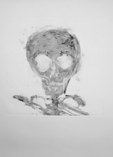 Skull Monotype 1989 30x22 Works on Paper (not prints) by Fritz Scholder
