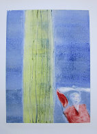 Mystery Woman with Cactus Monotype 1987 30x22 Works on Paper (not prints) by Fritz Scholder - 0