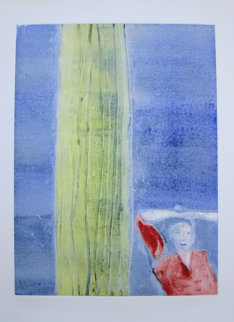 Mystery Woman with Cactus Monotype 1987 30x22 Works on Paper (not prints) by Fritz Scholder