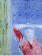 Mystery Woman with Cactus Monotype 1987 30x22 Works on Paper (not prints) by Fritz Scholder - 1