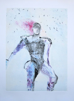 Possession Series Monotype 1990 30x22 Works on Paper (not prints) by Fritz Scholder