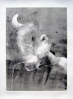 Bull Monotype 1993 30x22 Works on Paper (not prints) by Fritz Scholder - 0