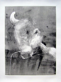 Bull Monotype 1993 30x22 Works on Paper (not prints) - Fritz Scholder