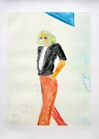 Walking Series Monotype 1990 30x22 Works on Paper (not prints) by Fritz Scholder - 1