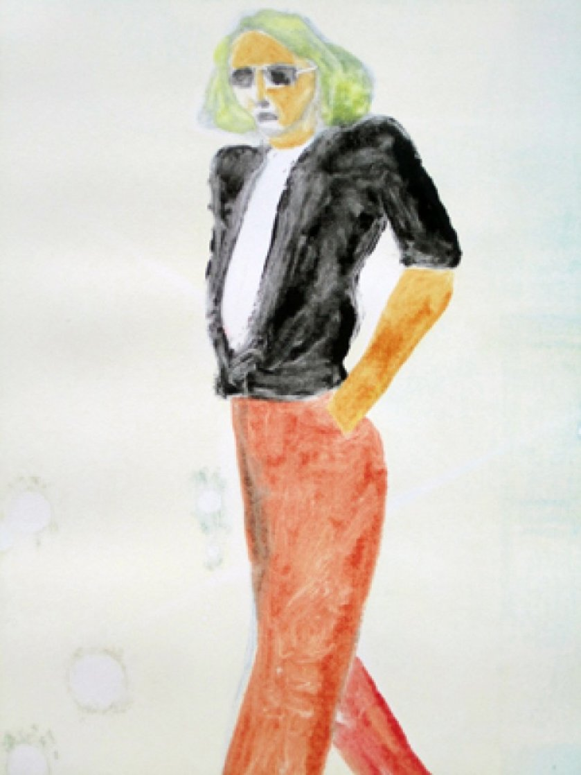 Walking Series Monotype 1990 30x22 Works on Paper (not prints) by Fritz Scholder
