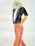 Walking Series Monotype 1990 30x22 Works on Paper (not prints) by Fritz Scholder - 0