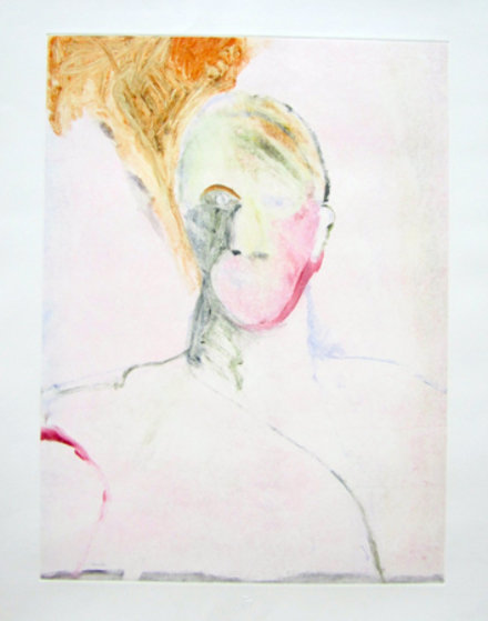 Portrait Head 1990 Monotype 30x22 Works on Paper (not prints) by Fritz Scholder