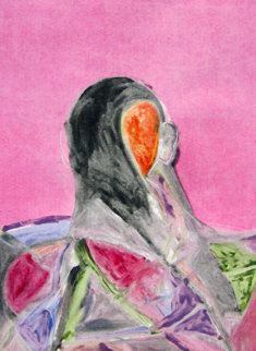 Entity Series #2 Monotype 1986 30x22 Works on Paper (not prints) by Fritz Scholder