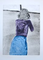 Bending Over Monoprint 1990 30x22 Works on Paper (not prints) by Fritz Scholder - 2
