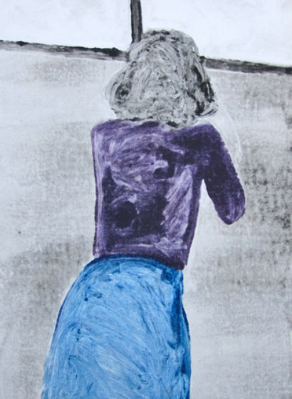 Bending Over Monoprint 1990 30x22 Works on Paper (not prints) by Fritz Scholder