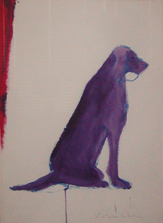 Purple Setter 36x29 Works on Paper (not prints) - Fritz Scholder