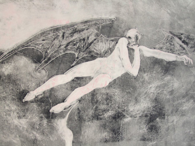 Winged Possession (Winged Devil) Monotype 1993 by Fritz Scholder