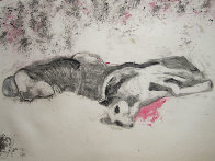 Massacred Indian With Dog Monotype 1993 30x41 Works on Paper (not prints) by Fritz Scholder - 1