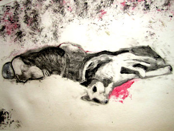 Massacred Indian With Dog Monotype 1993 30x41 Works on Paper (not prints) by Fritz Scholder