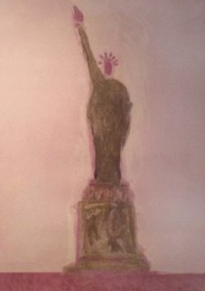 Statue of Liberty Unique Monotype 30x39 Works on Paper (not prints) by Fritz Scholder