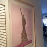 Statue of Liberty Unique Monotype 30x39 Works on Paper (not prints) by Fritz Scholder - 2