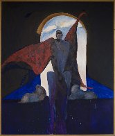 Possession With Clouds 1989 81x69 Huge Original Painting by Fritz Scholder - 1