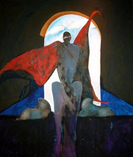 Possession With Clouds 1989 81x69 Huge Original Painting - Fritz Scholder
