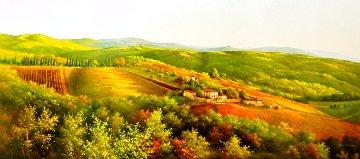 Toscana 27x59 Original Painting - Heinz Scholnhammer