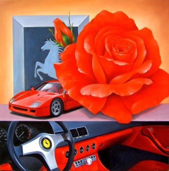 Ferrari 2013 39x39 Original Painting by Heinz Scholnhammer
