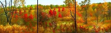 Triptychon Autumn 2011 31x106 Mural Super Huge Original Painting - Heinz Scholnhammer