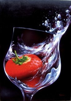 Strawberry in Glass 2010 27x19 Original Painting - Heinz Scholnhammer