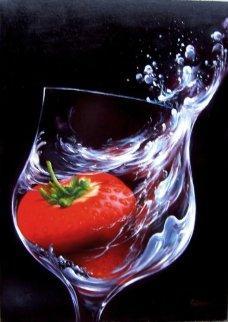 Strawberry in Glass 2010 27x19 Original Painting - Heinz Scholnhammer