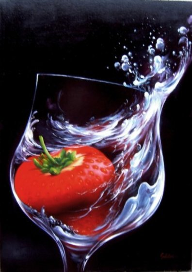 Strawberry in Glass 2010 27x19 Original Painting by Heinz Scholnhammer