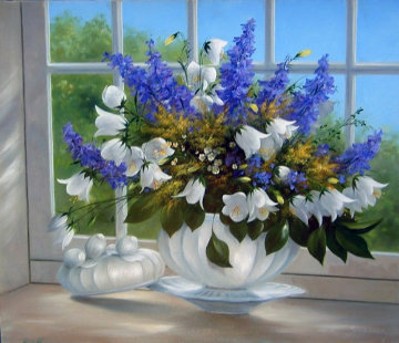 Larkspur 2010 Original Painting by Heinz Scholnhammer