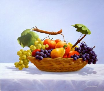 Fruit Basket 2010 27x31 Original Painting - Heinz Scholnhammer