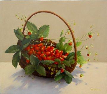 Strawberry Basket 2010 27x31 Original Painting by Heinz Scholnhammer