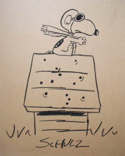 Fighter Ace Snoopy 1973 Drawing - Charles Schulz