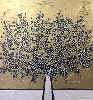 Golden Money Tree 2017 39x39 Huge Original Painting - Richard Scott