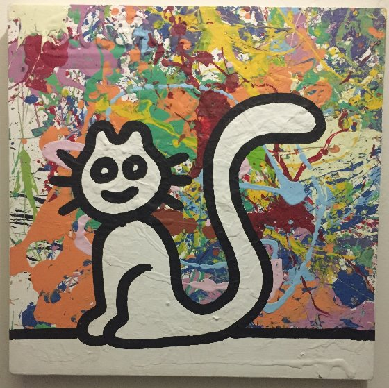 My Colorful Cat 2007 19x19 Original Painting by Richard Scott