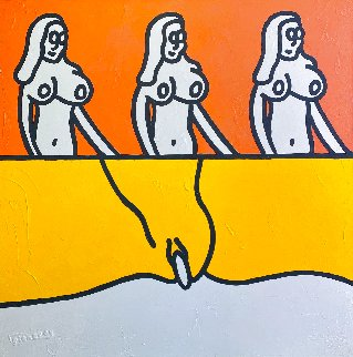Orange Fire Yellow Desire 2002 59x59 Super Huge Original Painting - Richard Scott