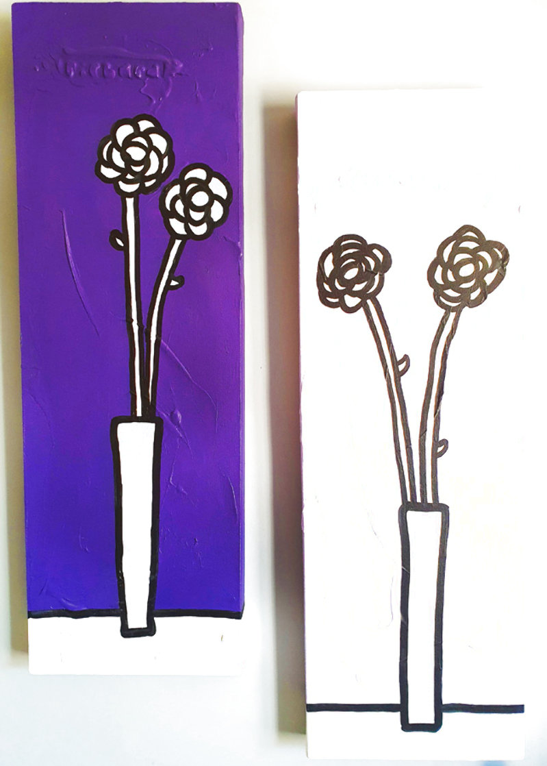 Untitled (Floral Paintings), Set of 2 2002 35x11 Original Painting by Richard Scott