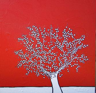 Red Tree 2009 59x59 Original Painting - Richard Scott