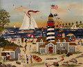 Beacon on the Beach 2004 Original Painting - Jane Wooster Scott