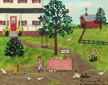 Lemonade Stand 1976 14x16 Original Painting - Jane Wooster Scott
