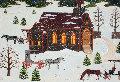 Winters Night At Church 1976 21x26 Original Painting - Jane Wooster Scott